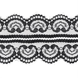 Кружево 48 мм двухстороннее цвет черный1 м  - фото 50055