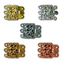 Замок для 3-х цепочек 'квадрат'  16 х 12 мм  никель 1шт - фото 54547