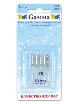 Иглы для бытовых швейных машин 'Gamma'  № 75   универсальные   5 шт - фото 59318