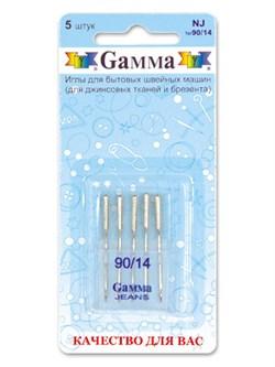 Иглы для бытовых швейных машин 'Gamma' № 90    для джинсы   5 шт - фото 62361