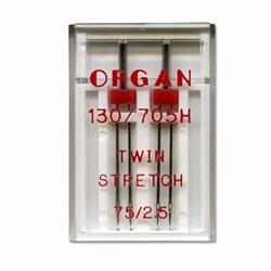 Иглы для БШМ 'ORGAN'  двойная стрейч 75/2,5   2 шт в пенале - фото 71678