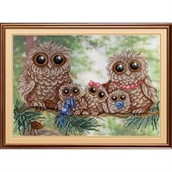 """""""Папа, мама, я... совиная семья"""" (на дизайнерской канве) 'М.П.Студия' РК-503 - фото 74572"""