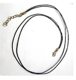 Шнур вощеный черный с замком 1 мм  - фото 89569