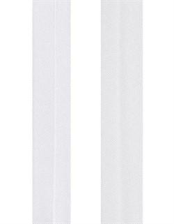 Косая бейка  атласная  белая 15 мм  1м - фото 90062