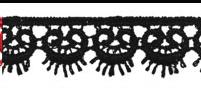 Гипюр черный 15 мм  1м - фото 90221
