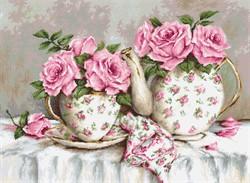"""""""Утренний чай и розы"""" 30х22  'Luca-S' - фото 94797"""