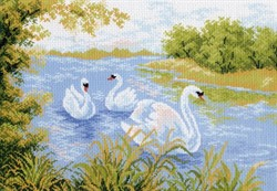 "Рисунок на канве ""Лебединое озеро"" 37 см х 49 см  ""Матренин Посад""  - фото 95071"