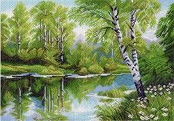 "Рисунок на канве ""Березы у озера"" 37 см х 49 см  ""Матренин Посад""  - фото 95075"