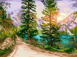 "Рисунок на канве  ""Шорох листьев""  37х49 см  ""Матренин Посад"" - фото 97721"