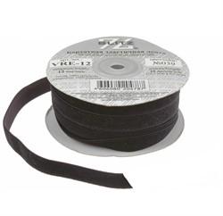Тесьма бархатная эластичная черная 12 мм  1м  - фото 99822