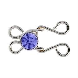 Застёжка-крючок 22 х11 мм  цвет никель (синий) 1 шт