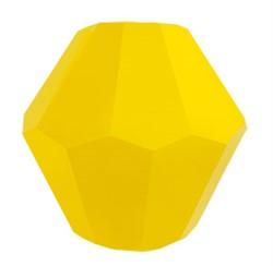 Бусины стеклянные биконус  4 х 4 мм цвет желтый 34 шт  на нити