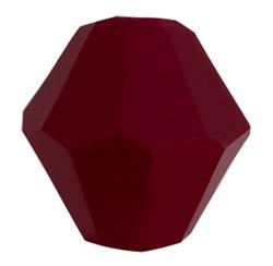 Бусины стеклянные биконус  4 х 4 мм цвет бордовый 34 шт  на нити