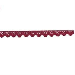 Тесьма декоративная  кружевная  11 мм темно-вишневая 1 м