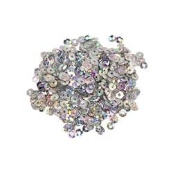 Пайетки плоские 'Астра' 3 мм цвет голограмма серебро   1 уп.