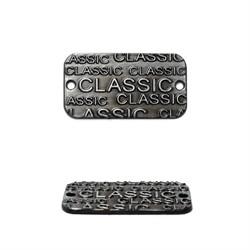 """Нашивка металлическая """"Classiс"""" черненое серебро 24*13 мм  1 шт"""