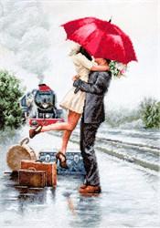 """Набор для вышивания """"Влюбленные на вокзале"""" 22*31 см """"Luca-S"""""""