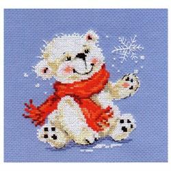 """Набор для вышивания  'Белый медвежонок' 12*13см  """"Алиса"""""""