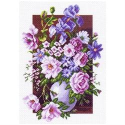 """Канва с рисунком 'Букет цветов' (33*45 см) 37*49 см """"Матренин посад"""""""