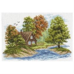 """Канва с рисунком 'Пейзаж с домиком' 33*45 см (37*49 см) """"Матренин посад"""""""