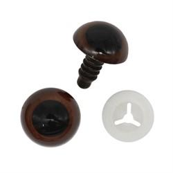Глазки пластиковые с фиксатором 14 мм коричневые 1 пара