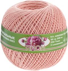 Нитки для вязания 'Пион' (70% хлопок, 30% вискоза 50 г., 200 м) бл. розовый 1 к.
