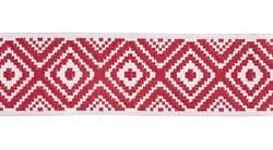 Жаккардовая лента 35 мм красно-белая 1 м
