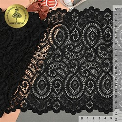 Кружево-стрейч 180 мм цвет 003 черный 1 м