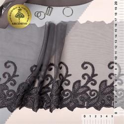 Кружево вышивка на сетке (левая) 170 мм  цвет мокрый асфальт  1м