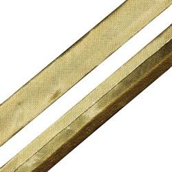 Косая бейка под металл 15 мм яркое золото 1м