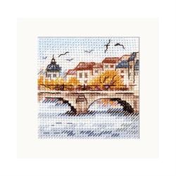 """Набор для вышивания""""Осень в городе. Чайки под мостом"""" 7х7 см  """"Алиса"""""""