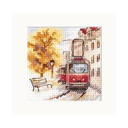 """Набор для вышивания""""Осень в городе. Трамвай"""" 7х7 см  """"Алиса"""""""