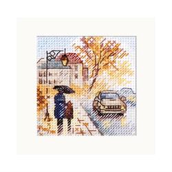 """Набор для вышивания""""Осень в городе. Мокрый бульвар"""" 7х7 см  """"Алиса"""""""