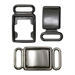 Застежка для бюстгальтера (купальника) металлическая черный никель  27 х 14 мм  1 шт