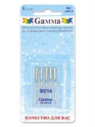 Иглы для бытовых швейных машин 'Gamma' № 90    для джинсы   5 шт