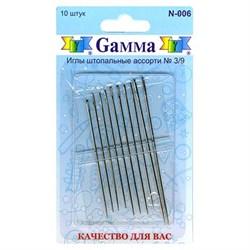 Иглы для шитья ручные 'Gamma'   для штопки  №3/9   N-006   10 шт.  блистер