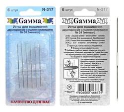 Иглы для шитья ручные 'Gamma'   для вышивания двусторонние №24   N-317   блистер   6 шт.