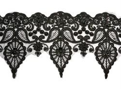 Кружево свадебное (на органзе) с пайетками 160 мм цвет черный  1 м