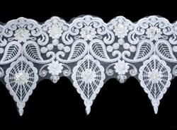 Кружево свадебное (на органзе) с пайетками и бусинами  160 мм цвет белый 1 м