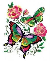 """'Бабочки и розы' 14х18 см """"Чудесная Игла"""""""