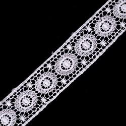 Кружево гипюр  шир.35мм цв.001 белый   1м