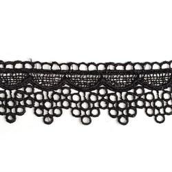 Кружево гипюр  шир.40мм цв.черный   1м