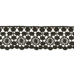 Кружево гипюр  шир.45мм цв.02 черный 1м
