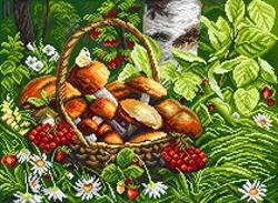 """Рисунок на канве """"Первые грибы""""  """"Матренин Посад"""" 1822"""