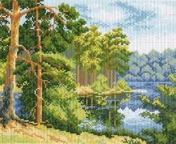 """Рисунок на канве """"Озеро в лесу""""  """"Матренин Посад"""" 0604-1"""