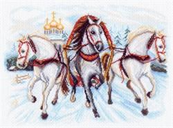 """Рисунок на канве """"Тройка лошадей""""  """"Матренин Посад"""" 1539"""