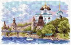 """Рисунок на канве """"Псковский кремль""""  """"Матренин Посад"""" 1645"""