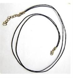 Шнур вощеный черный с замком 1 мм