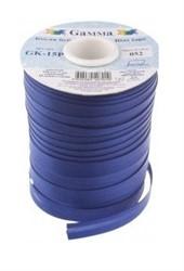 Косая бейка  атласная 15 мм синяя 1м