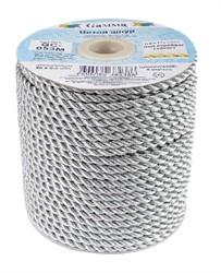 Шнур витой  металлизированный 5 мм (серебро) 1 м